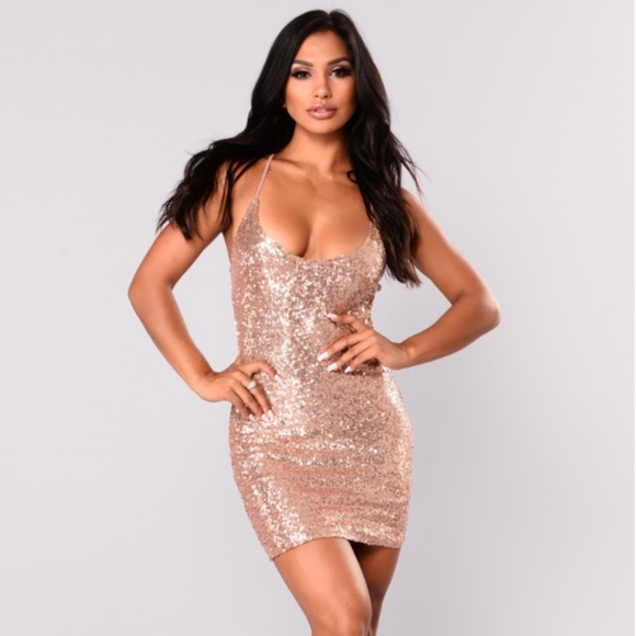 affa4620d033 Fashion Nova Rose Gold Mini Sequin Dress